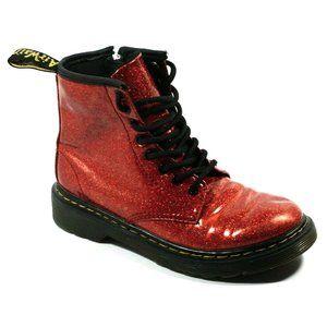 Dr Martens Girls 1460 Glitter Red Combat Boots